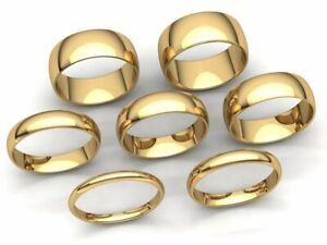 Dome-Comfort-Fit-Band-Ring-Mens-Women-2mm-3mm-4mm-5mm-6mm-7mm-8mm-Solid-10k-Gold