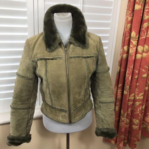 preferiti donna con beige vintage bomber retrò Giubbotto in blogger zip pelle scamosciata BqPvAw