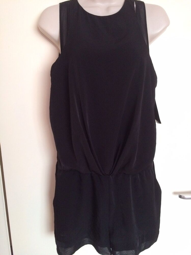 Zara Court Noir Combinaison Taille S, Uk8 Apparence Brillante Et Translucide
