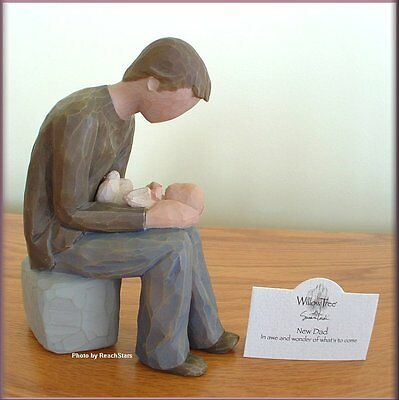 NEW DAD WITH BABY FIGURINE FROM WILLOW TREE® ANGELS FREE U.S. SHIPPING
