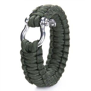 Uberleben-Armband-mit-rostfrei-Stahl-Bogen-Schaekel-olive-duester-gruen-GY