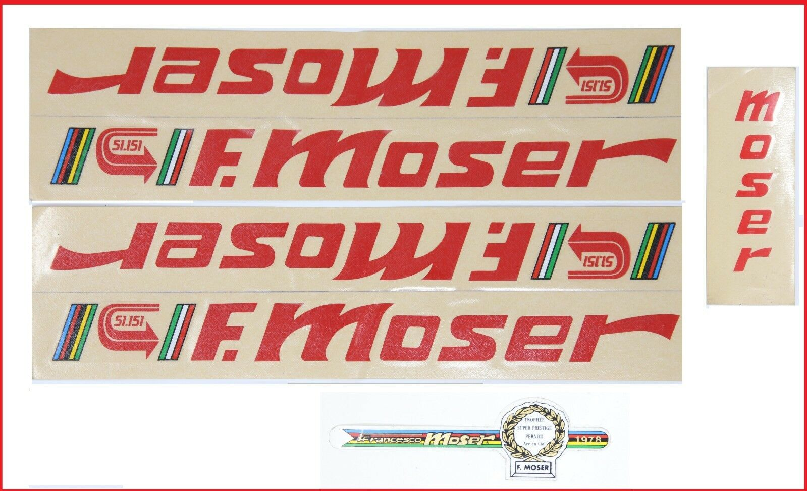 NOS ORIGINAL MOSER 51.151 DECAL SET 80S VINTAGE RED