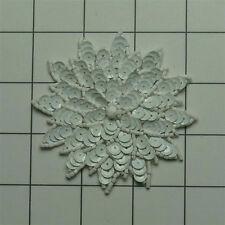 CHALK WHITE  SEQUIN BEADED FLOWER APPLIQUE  2696-A
