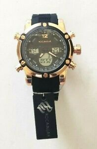 Rocawear-Men-039-s-RM03592-Rose-Gold-Tone-Adjustable-Black-Rubber-Strap-Stop-Watch