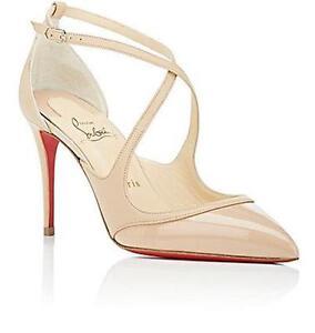 22e1184fdae Details about Christian Louboutin CRISSOS Criss Cross Strap Heels Sandal  Pump Shoes Beige $845
