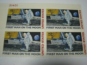 Details about FIRST MAN ON THE MOON Plate Block Stamps
