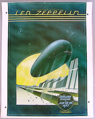 LED ZEPPELIN Concert Poster Proof, Unused Color. 1977 Randy Tuten art, signed