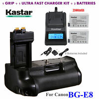 Bg-e8 Battery Grip, Lp-e8 Battery, Charger For Canon Rebel T2i T3i T4i T5i Dslr