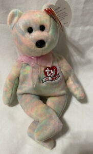 2001 TY Beanie Baby Celebrate Bear With Tag Retired   DOB March 13th
