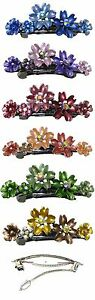 Crystal Flower Barrette Hairclip w. French Clip Clasp Lovely Colors YY86400-12