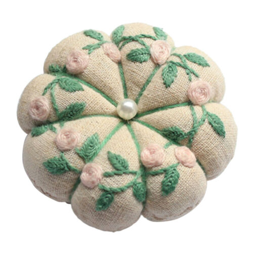 Vintage Flower Pattern Pin Cushion Hand Embroidery Sampler Kit for Starters