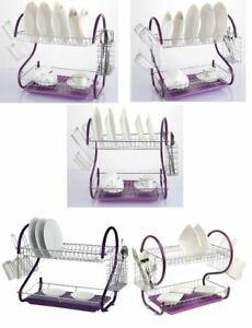 New-2-Tier-Purple-Drip-Drainer-Rack-Plates-Water-Dish-Cutlery-Holder-Tray-Cup