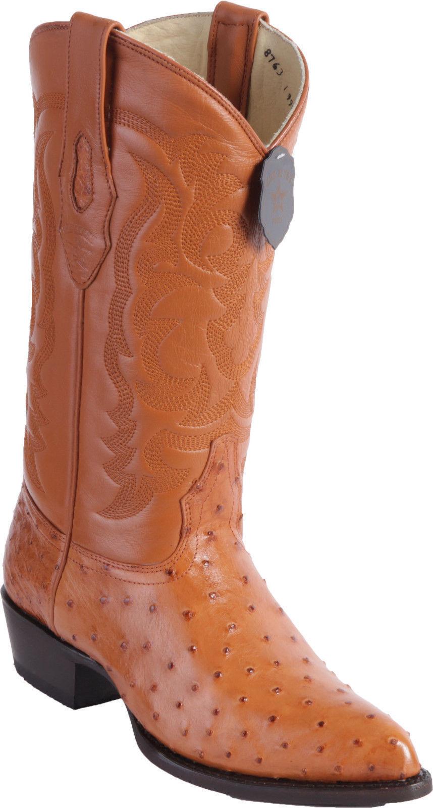 LOS ALTOS Uomo HONEY GENUINE FULL QUILL OSTRICH WESTERN COWBOY BOOT J-TOE D