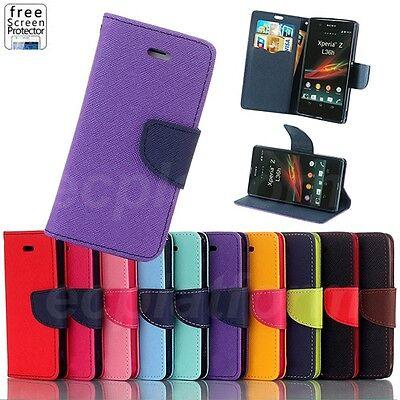 Handy Tasche für Sony Xperia Z Flip Case Cover Schutz Hülle Etui Schale Lila