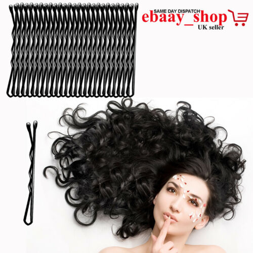 Hair Grips Strong Grip Bobby Pins Slides Clips Clamps Waved Black Pins UK Seller