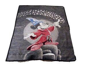 Biederlack-Fantasia-Disney-Mickey-Mouse-Sorcerer-Apprentice-Blanket-VINTAGE