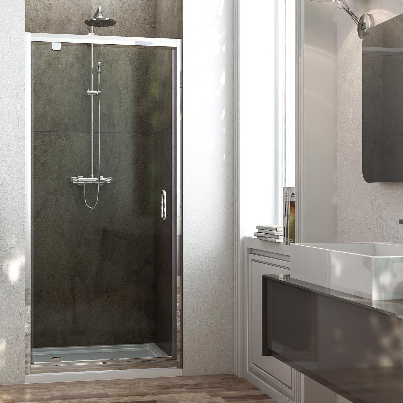 Porta doccia a battente anta unica 70 75 80 90 100 vetro trasparente o opaco qws