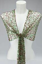GREEN & BROWN NET SCARF SHAWL WRAP cobweb lace wedding fair trade handmade NEW!