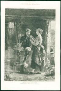 1874-FINE-ART-Antique-Print-Dawn-Love-Henry-Benjamin-Roberts-Water-Colour-260