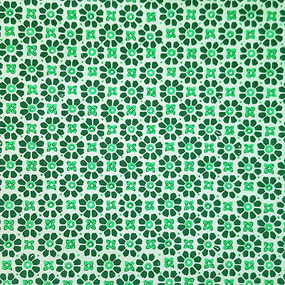 Cotton Poplin Fabric Craft Dress Making Quilting Tiles Moroccan Green Flowers