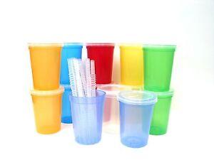 150-Small-Plastic-Cups-LIds-Straws-Mix-7-Translucent-Colors-Mfg-USA-Lead-Free