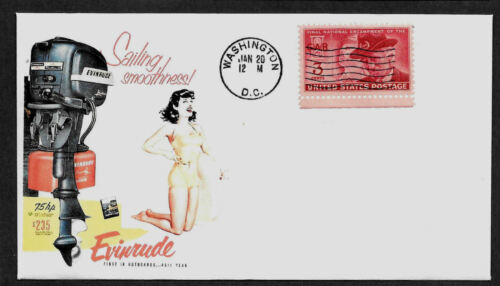 1953 Evinrude Boat Motor Pin Up Girl Ad Featured on Collector's Envelope *A541