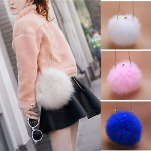 New-Designer-Fluffy-Genuine-Feather-Clutch-Fur-Bag-Round-Chain-Purse-Multi-color