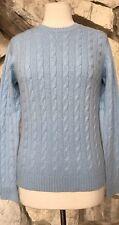 NWT Kirkland Signature Blue 100% Cashmere Long Sleeve Cable Knit Sweater Sz M