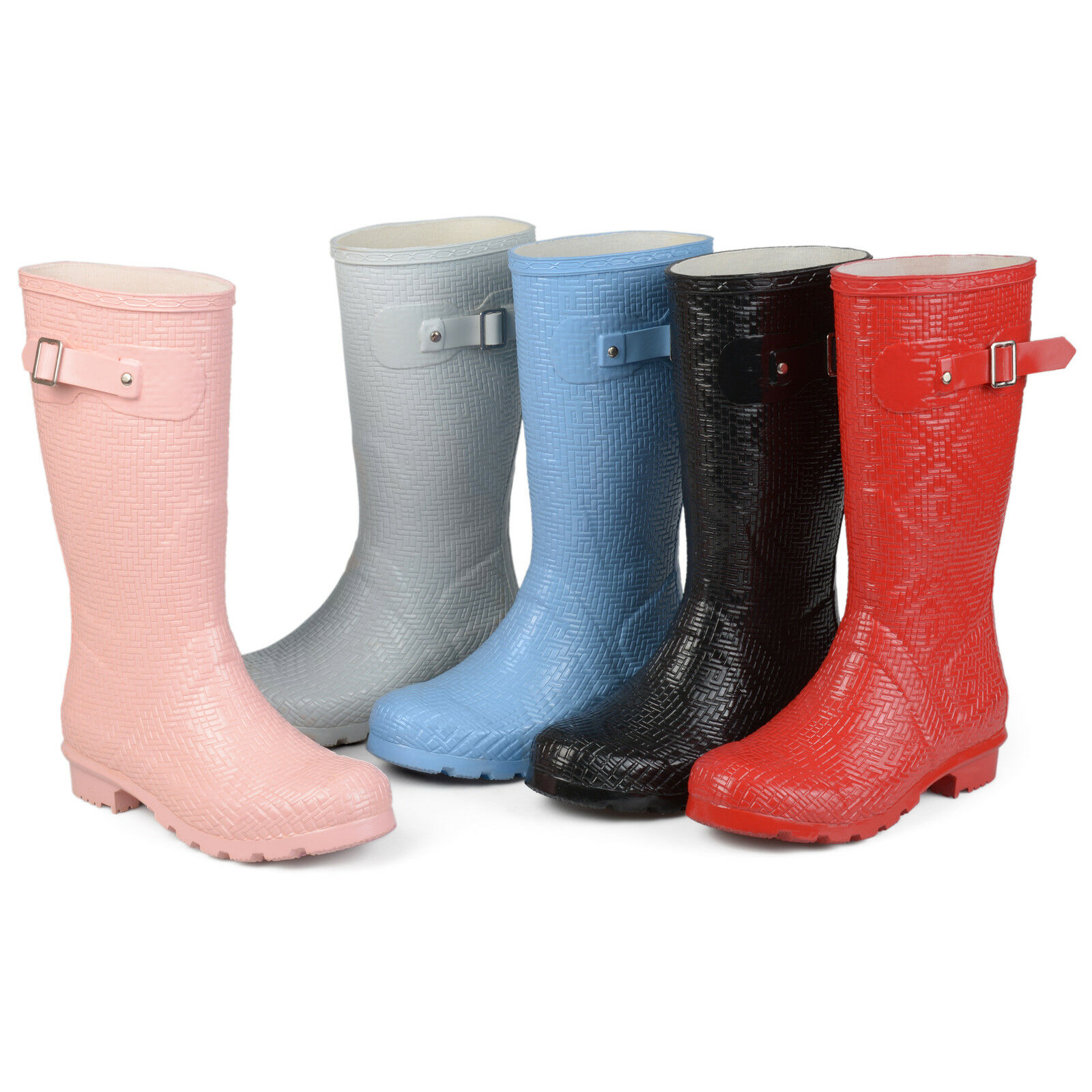 Brinley Co Womens Drench Midcalf Textured Basket weave Rubber Rainboots New