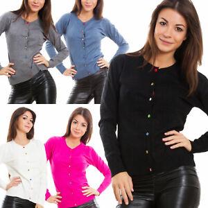 brand new 09a26 8b688 Dettagli su Cardigan donna maglione pullover bottoni colorati maniche  lunghe caldo P5959