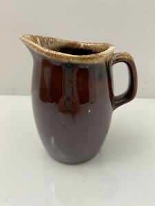 """Vintage Hull USA Brown Drip Pottery Creamer--""""Oven Proof"""" (4.5""""H)"""