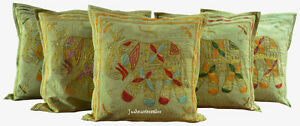 Indian-Handmade-Cushion-Cover-Home-decor-16X16-zari-Cotton-Hippie-Set-of-5