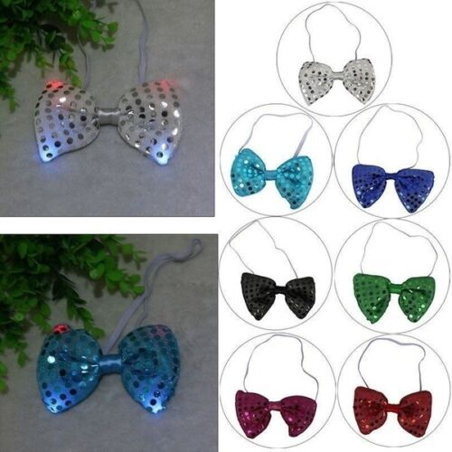 Flashing Light Up Tie 12 Pieces Fashion Design Man Woman LED Party Lights Sequin