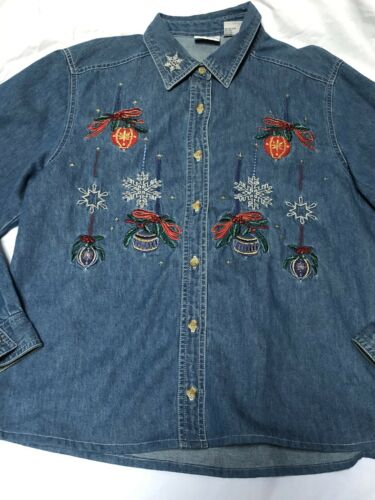 Bobbi Brooks vintage denim  shirt size M  blue emb