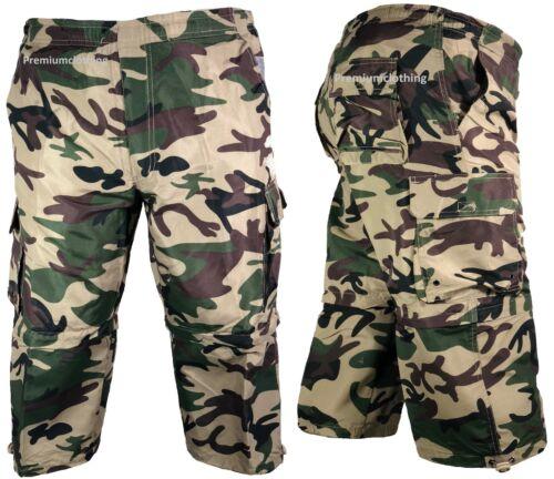 Mens 3//4 Summer 2 in 1 Shorts Elasticated Waist Cargo Combat Three Quarter Camo