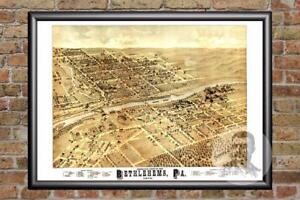 Vintage-Bethlehem-PA-Map-1878-Historic-Pennsylvania-Art-Victorian-Industrial