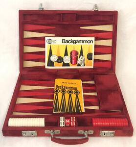Backgammon-Set-With-Red-Velvet-Carry-Case-1983-KTG-100-Complete-Vintage