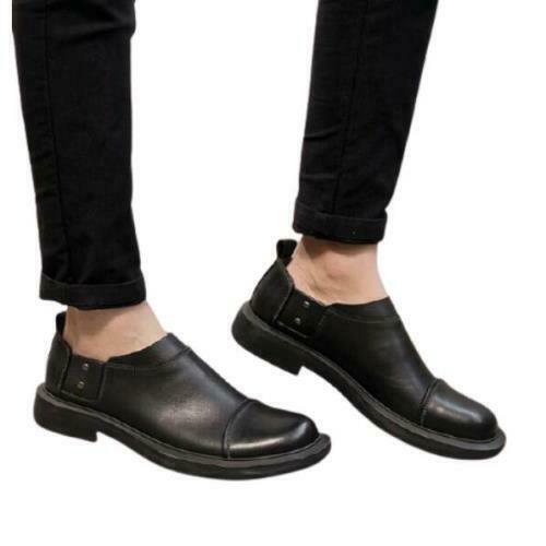 Details about  /Mens Retro Low Top Real Leather Business Shoes Round Toe Work Office Non-slip L