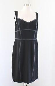 Ann Taylor Womens Black Faux Leather Trim Sleeveless Sheath Dress Sz 10 Cocktail