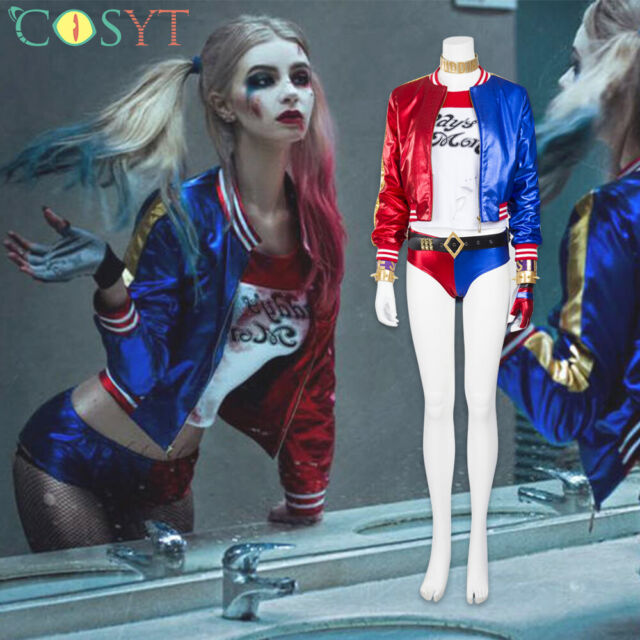 NEW Kid/'s Suicide Squad Harley Quinn Cosplay Costumes Outfit Full Set Halloween