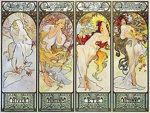 Poster girl four-season frame A. Mucha Tile Mural Backsplash Art Marble Ceramic