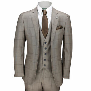Suit chiaro Wedding Check Mens Work marrone Grid Smart Slim Vintage pezzi 3 Large Fit x8n7BXq1n