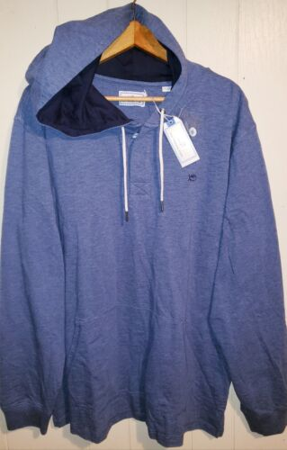Southern Tide Quarter Button Pullover Hoodie Mens 2XL NWT $99.50 Blue