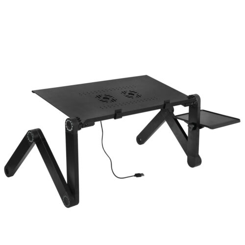 Double CPU Fan 360° Adjustable Folding Laptop Stand Desk Bed Computer Tray