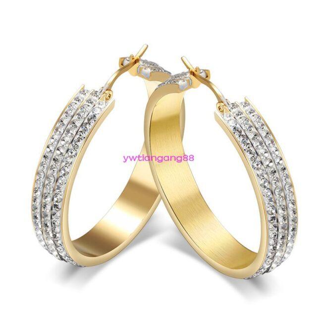 Womens Gold Stainless Steel Cubic Zirconia Earrings CZ Hoop Huggie Ladies Snap