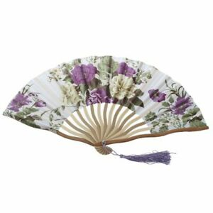 2X-Chinese-Floral-Pattern-Fabric-Bamboo-Frame-Foldable-Hand-Fan-Brown-P1E9