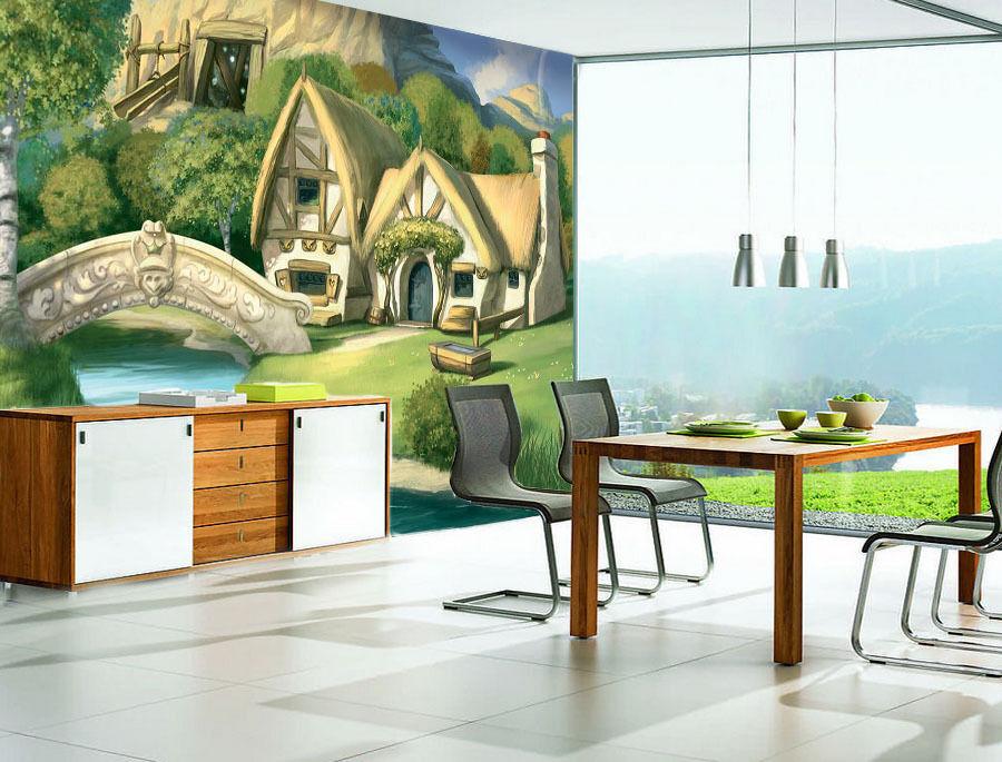 3D Cartoon House Grass Bridge 8 Wall Paper Wall Print Decal Wall AJ WALLPAPER CA