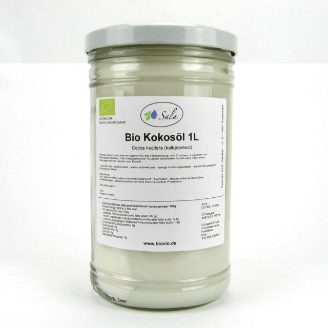 (14,95/L) Sala Bio Kokosöl 100% reines Kokos Massage Öl kaltgepresst 1000 ml 1 L