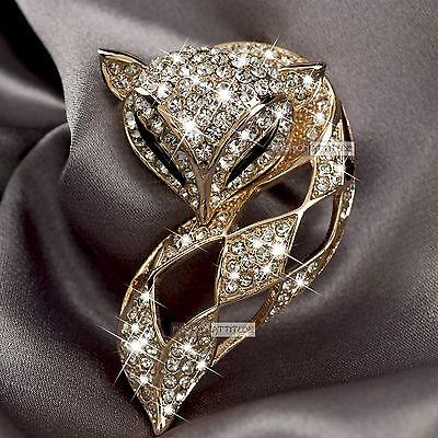 18k rose gold gp made with SWAROVSKI crystal fox filigree brooch
