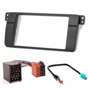 Carav-11-498-3-67-Car-Stereo-Radio-Bezel-Set-for-BMW-3er-e46-Double-Din-Black
